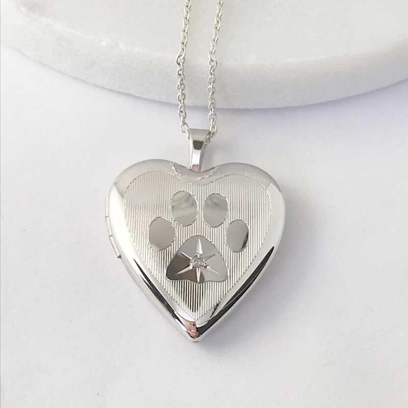 Diamond Pawprint Pet Cremation Ashes & Photo Memorial Locket