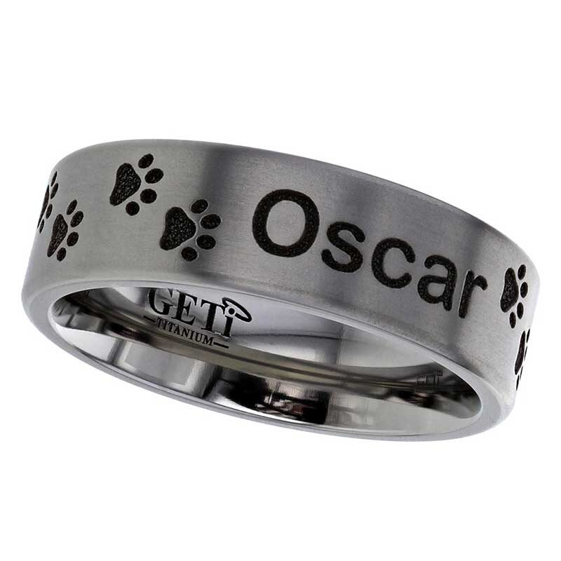 Dog Paw Print Titanium Ring With Name Inscription