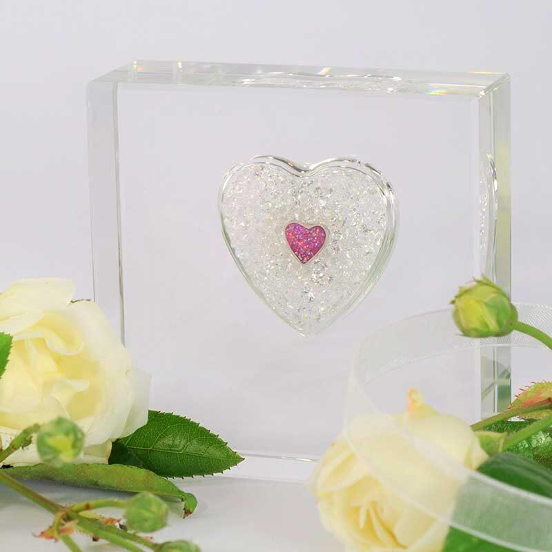 Square Sparkling Glass Heart Memorial
