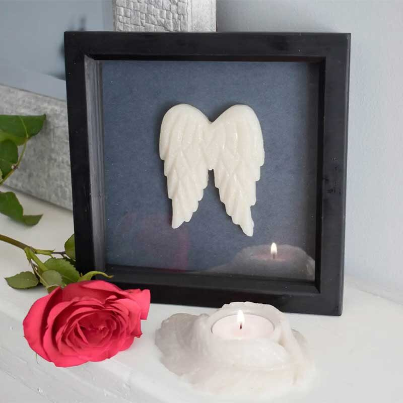 Memorial Angel Wing Cast In Deep Boxed Frame With Inclusions