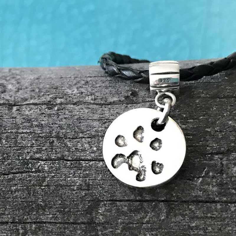 Paw Print Bracelet Leather Circle