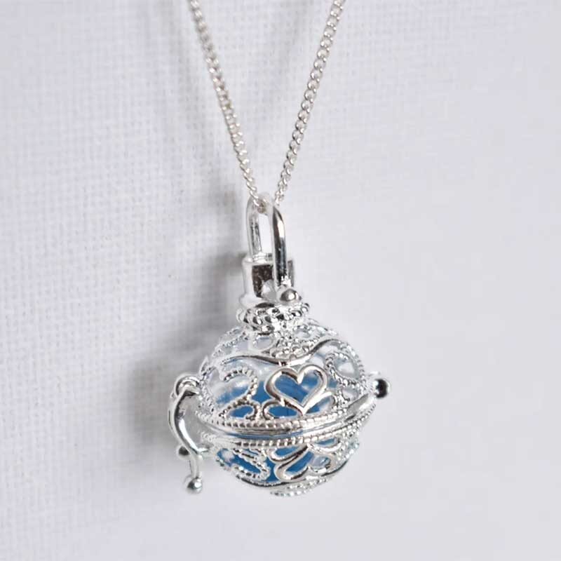 Silver Plated Caged Ball Necklace